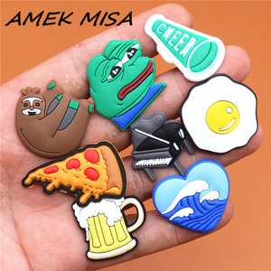 Single Sale 1pcs Animals 29 Types Shoe Charms Accessories Decorations Sad Frog PVC Croc jibz Buckle for Kids Party Xmas Gifts