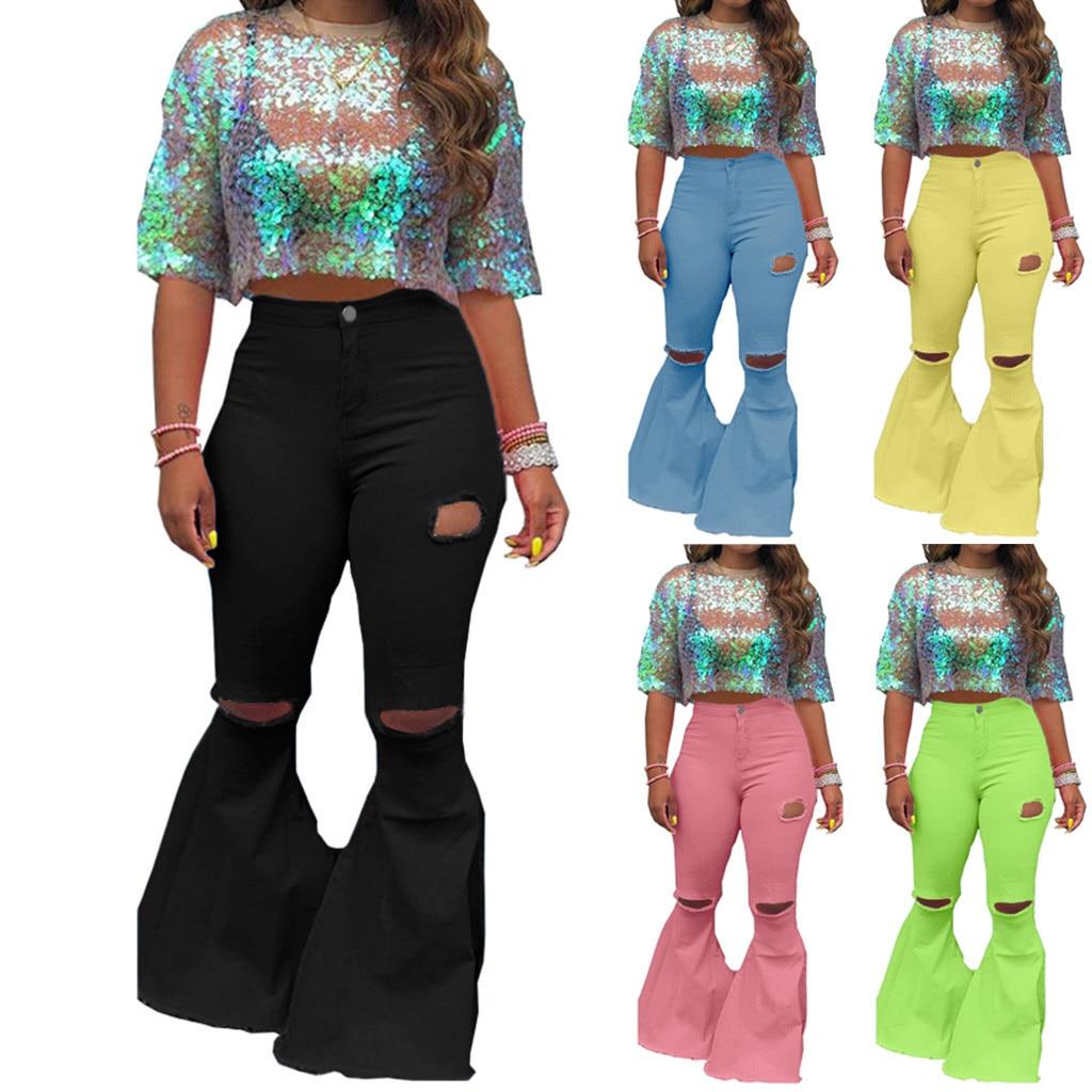 Mom freund Jeans Frauen push up Loch Flares Jeans Streetwear Zipper Hosen Boot Cut Denim Hosen Damen Lange, Breite Bein hosen