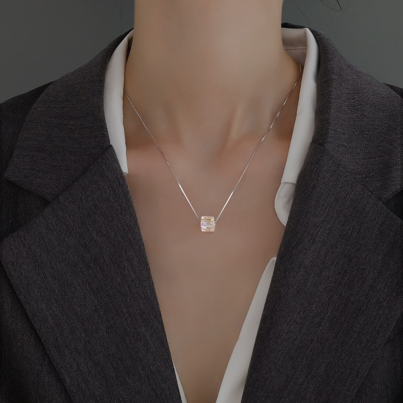 925 Sterling Silver Aurora Necklace Female 2020 nian New Style Ins Normcore Style Choker Special Interest Light Luxury High