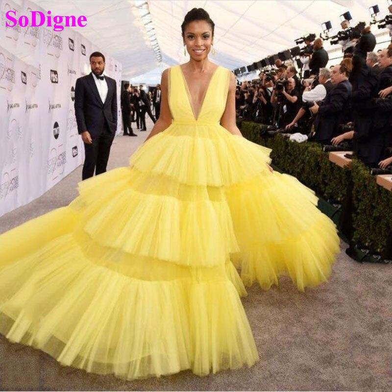 SoDigne Elegant Prom Dresses V neck Tulle Princess Celebrity Dresses Sleeveless Long Evening Gowns 2021 vestidos formales