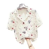 suit collar retro port flavor fashion flower shirt womens french chiffon short sleeved shirt 2021 summer new