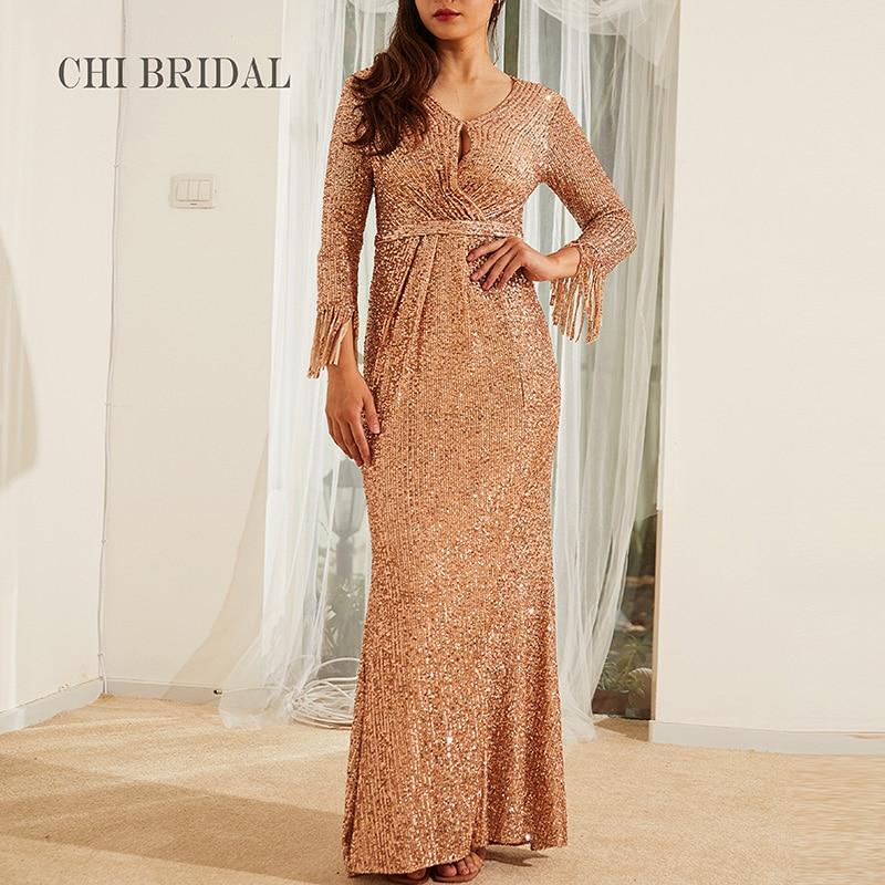 Fashion Sequin Evening Dress Tassel Sleeve Slim Dress Luxury Handmade Ladies Banquet Evening Dress Actual Image фото