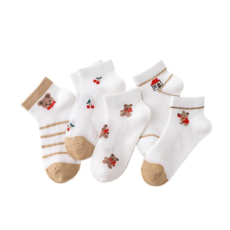 5 Pairs/Lot Children Cotton Socks Boy Girl Baby Infant Ultrathin Fashion Breathable Solid Mesh Socks For Summer 1-12T Teens Kids