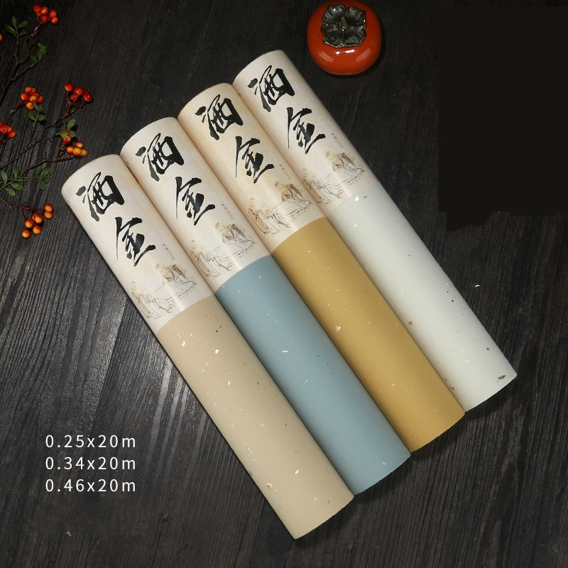 Retro Baitk Half-Ripe Xuan Paper 20m Long Scroll Paper with Gold Spot Brush Writing Calligraphy Painting Couplet Creation Paper