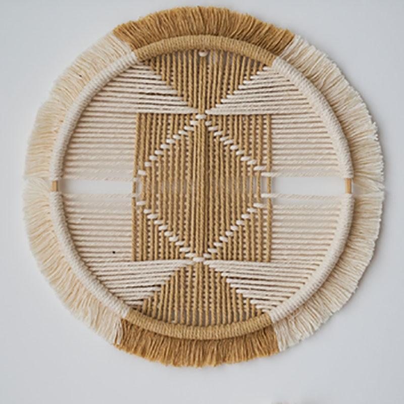 Boho Decor Macrame Round Tapestry Wall Hanging Hand Woven Cotton Rope Black White Combination Headboard Mandala Tapestry