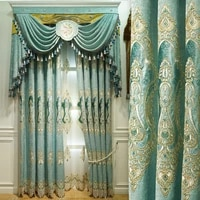 elegant luxury satin garden embroidered window curtains for living room bedroom hotel kitchen beautiful luxury curtain colors