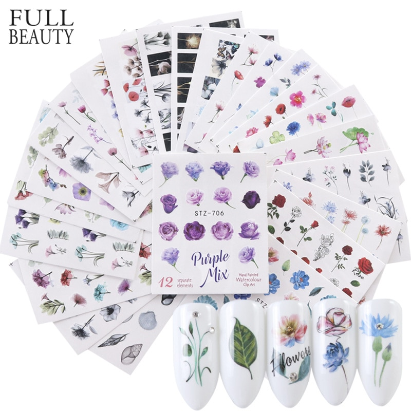24 unidades acuarela Floral flor pegatina uña calcomanía Set flamenco letra diseño Gel manicura decoración agua Slider Foil CHSTZ683-706-1