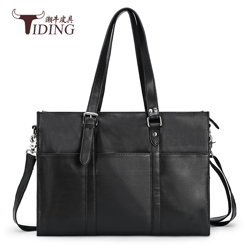 Man Business Briefcase Black Genuine Leather Casual Tote Hand Bags Male Travel Shoulder Handbag