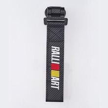 Remolque de coche para cinturón con emblema para remolque RALLIART, parachoques de tela de estilo de fibra de carbono, adhesivo para Mitsubishi Lancer 10 evo, accesorios
