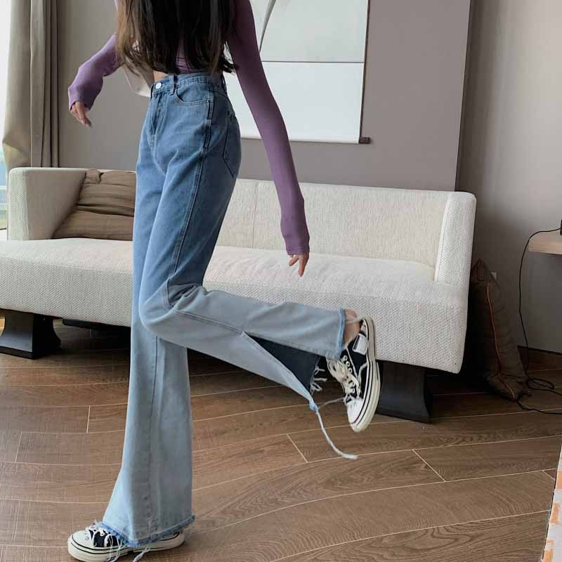 Autumn Retro Denim Trousers With High Waist And Slim Fashion Flared Pants And Simple Straight Pants Tide 2020