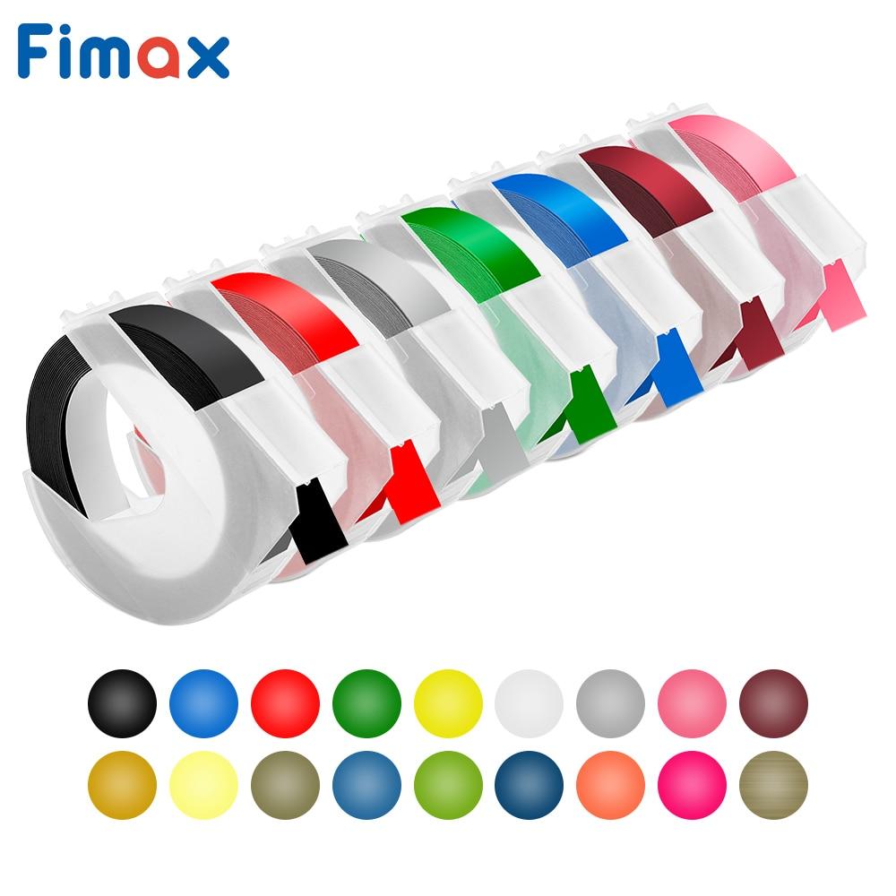 Fimax 1 Uds DYMO 3D 12mm 9mm Blanco sobre negro cinta autoadhesiva en relieve de vinilo para organizador Xpress Pro fabricante de etiquetas en relieve