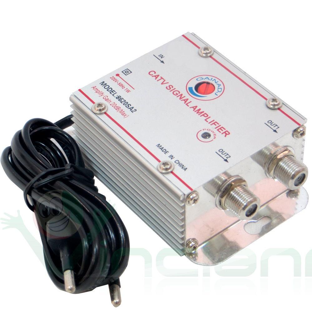 Усилитель сигнала FOCAN для телевизионной антенны, 2 канала, 20 дБ, усилитель сигнала, разветвитель с разъемом F (вилка Eueope)