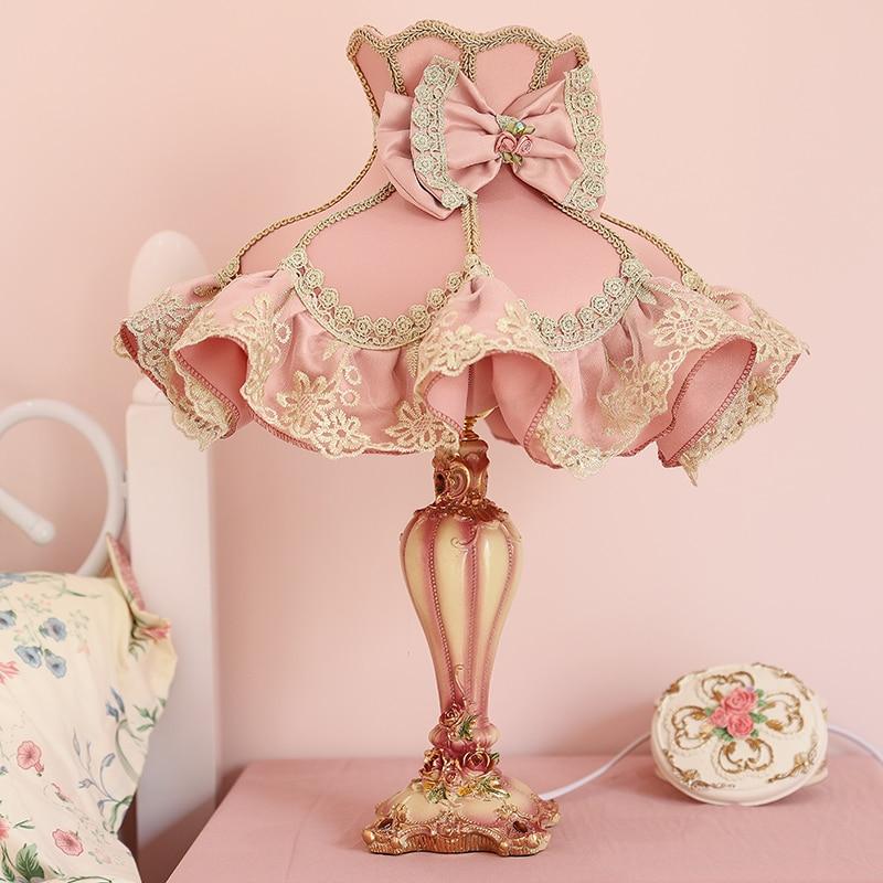 Lámparas de Mesa rosas modernas para dormitorio, niña, lámpara de escritorio de princesa, luz Led para sala de estar, accesorios de iluminación para el hogar, decoración de boda E27