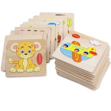 Cartoon Animal Jigsaw Wooden Puzzle Educational Developmental Baby Kids Training Toy Random Style
