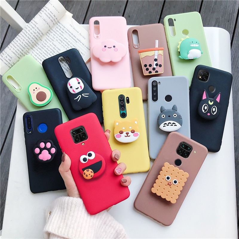 3D cartoon phone holder case for xiaomi redmi note 8 note8 pro 8t note 9 pro 5g 9s redmi 9C 9A 8 8a