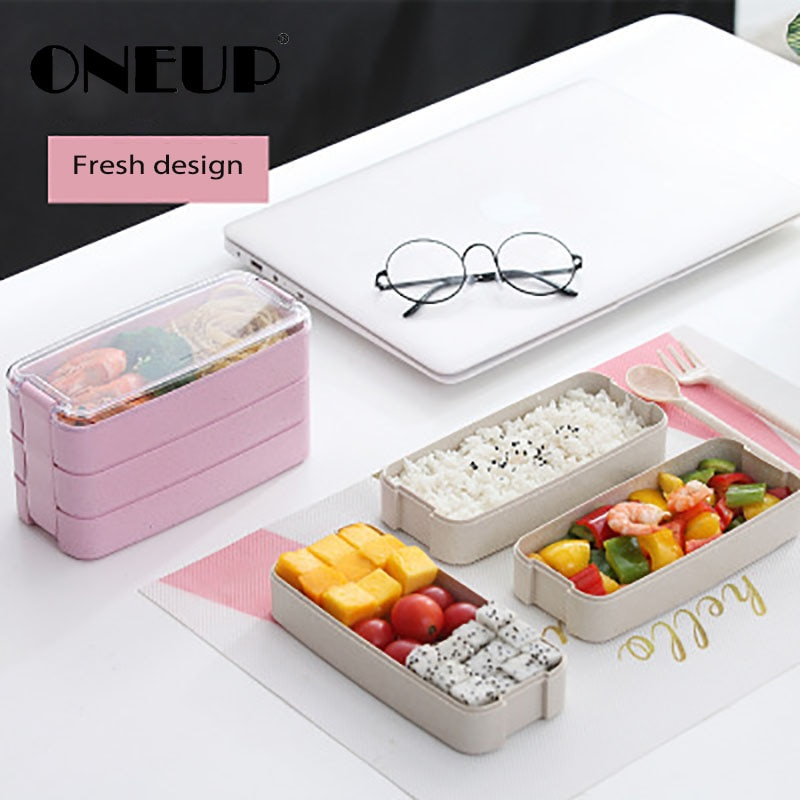 Caja de almuerzo ONEUP estilo japonés para estudiantes, caja Bento multimarco de paja de trigo, recipiente de plástico para conservar alimentos para horno microondas