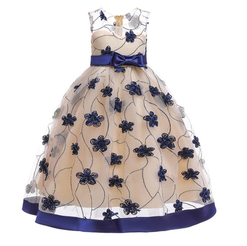 Summer baby Clothes Girls floral Princess Party Dresses Wedding birthday Sleeveless long Kids tutu dress Children Clothing