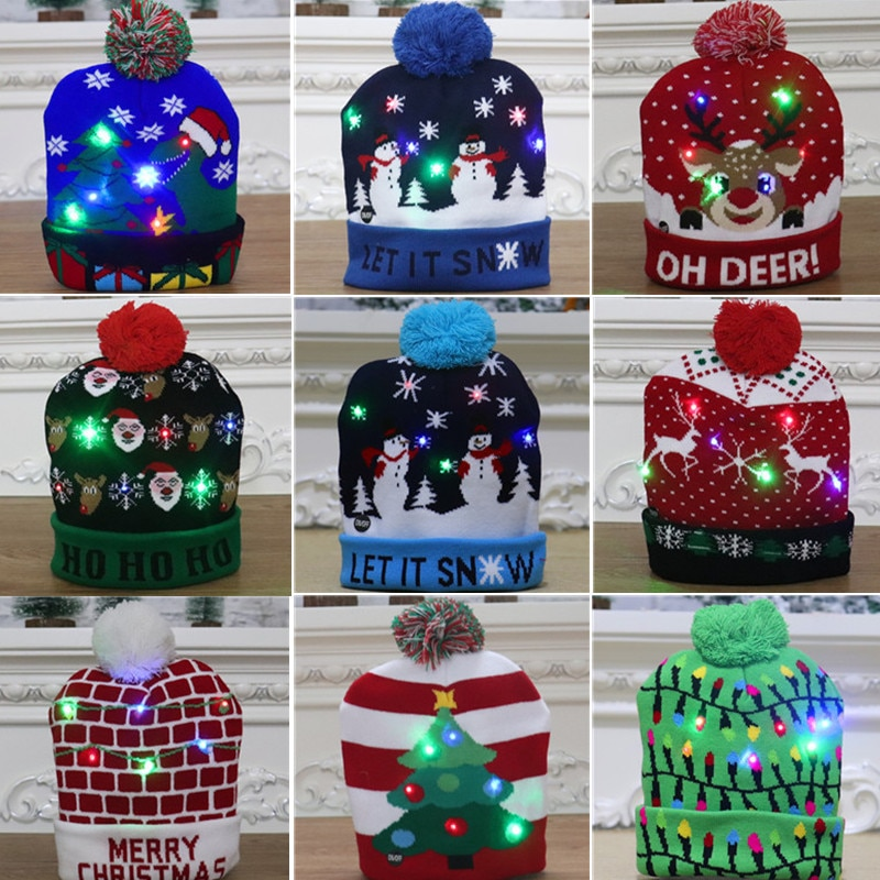 Free Shipping High-quality colorful luminous knitted Christmas hat decoration