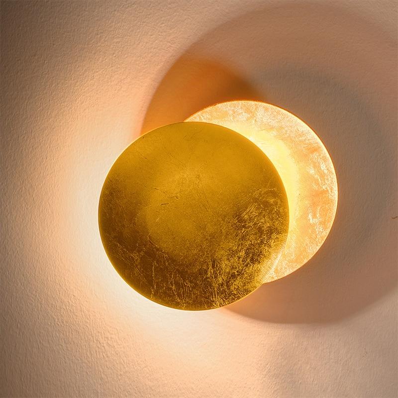 الشمال الحد الأدنى شخصية الإبداعية الممر الممر الجدار مصباح السرير غرفة المعيشة الجولة الذهب الفضة النحاس وحدة إضاءة LED جداريّة ضوء