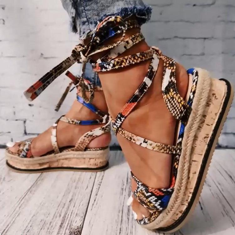 Women Sandals Mid Heel Summer Bandage Women's Shoes Open Toe Boho Color Snake Pattern Plus Size 35-43