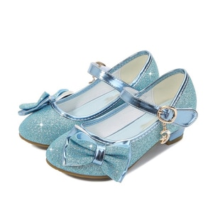 Children's Shoes Girls High Heels Sequined Uppers Girls Leather Shoes Autumn Wedding Girls Shoes High Heel Sandals Princess Bow