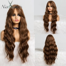 ALAN EATON Long Wavy Brown Wig with Bangs Synthetic Wigs for Black Women Heat Resistant Fiber Cosplay Party Natural Hair Wigs