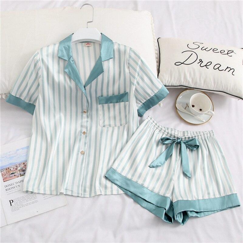 Cute Womens Pajamas Silk Two Piece Set Sleepwear Satin Pijama Pyjama Shirt + Shorts Homewear Night S