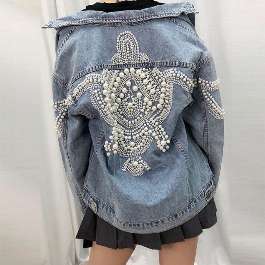 Chaqueta vaquera YAMDI para mujer, abrigo holgado vintage con más de 2.000 perlas y tachuelas incrustadas, ropa de calle de manga larga para otoño, chaqueta Bohemia para mujer