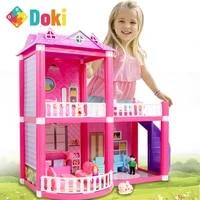 baby diy doll house toys pink assemble princess villa handmade construction casa miniature furniture dollhouse for children gift