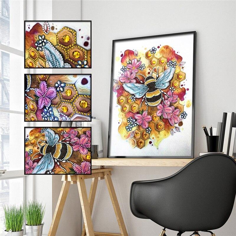 Pintura de diamantes 5D DIY con forma especial de abeja de diamante, pegatina bordada de diamantes de flor de belleza, decoración de mosaico