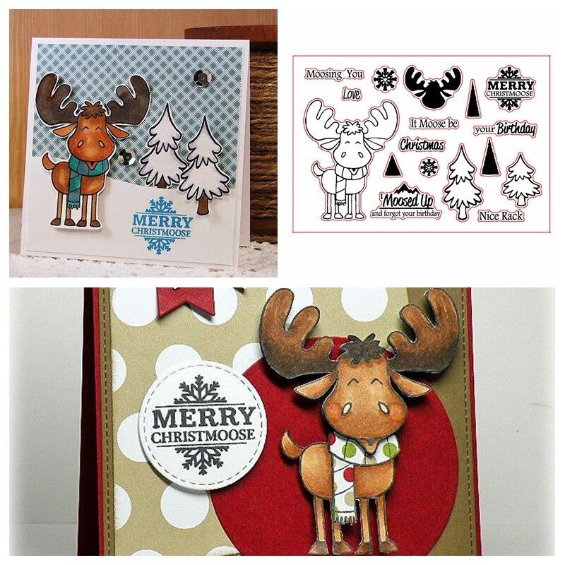 Sellos transparentes de Feliz Navidad Moosing You para hacer tarjetas de alce + frases de Navidad para niños, sellos de silicona transparentes, nuevo 2019