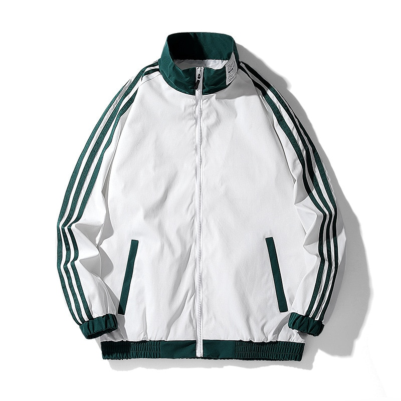 A Casual Jacket Sports Jacket Suitable For This Season. Streetwear Striped Jacket Loose Jacket, Stand-up Collar Jacket