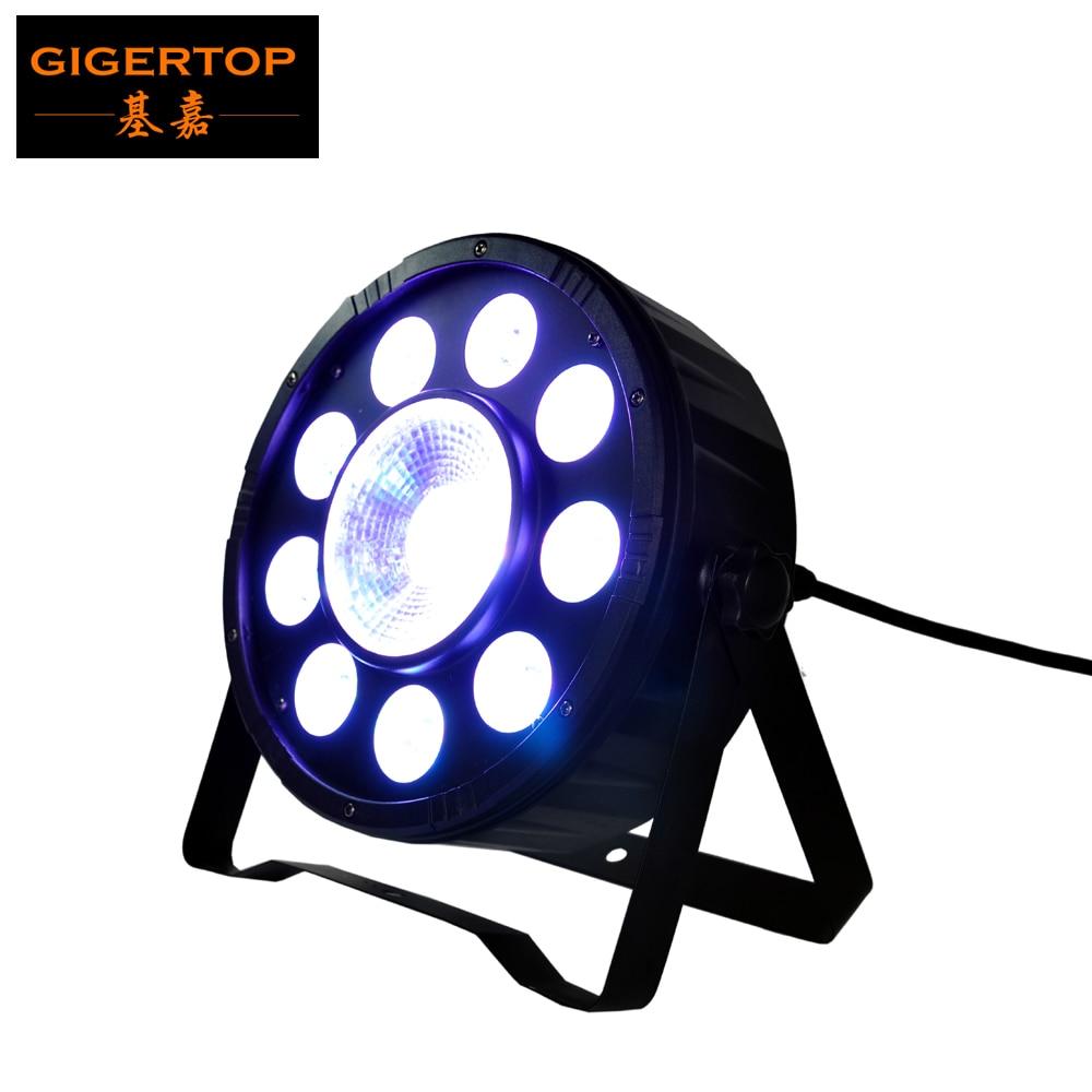 TIPTOP Stage Light 9x3W + 1x30W High Power TRI Colour Flat LED RGB Par Light in Black Housing 25 Beam Angle Silent Working