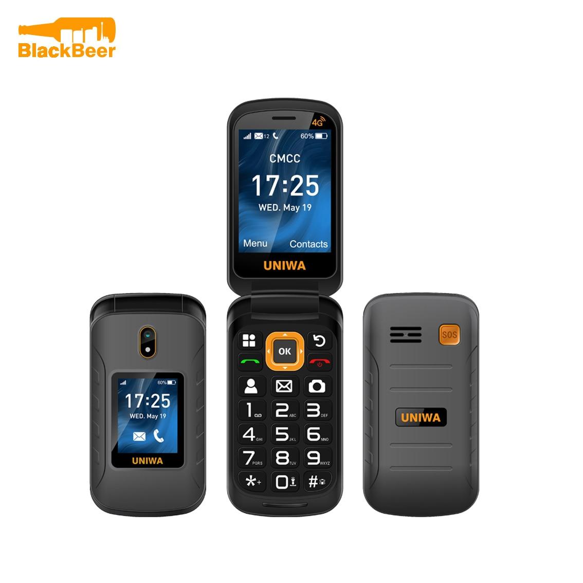 UNIWA V909T 4G Flip Phone 2.8 Inch Double Screen Feature Phone Russian Keyboard Clamshell Cellphone Big Push-Button 2250mAh SOS