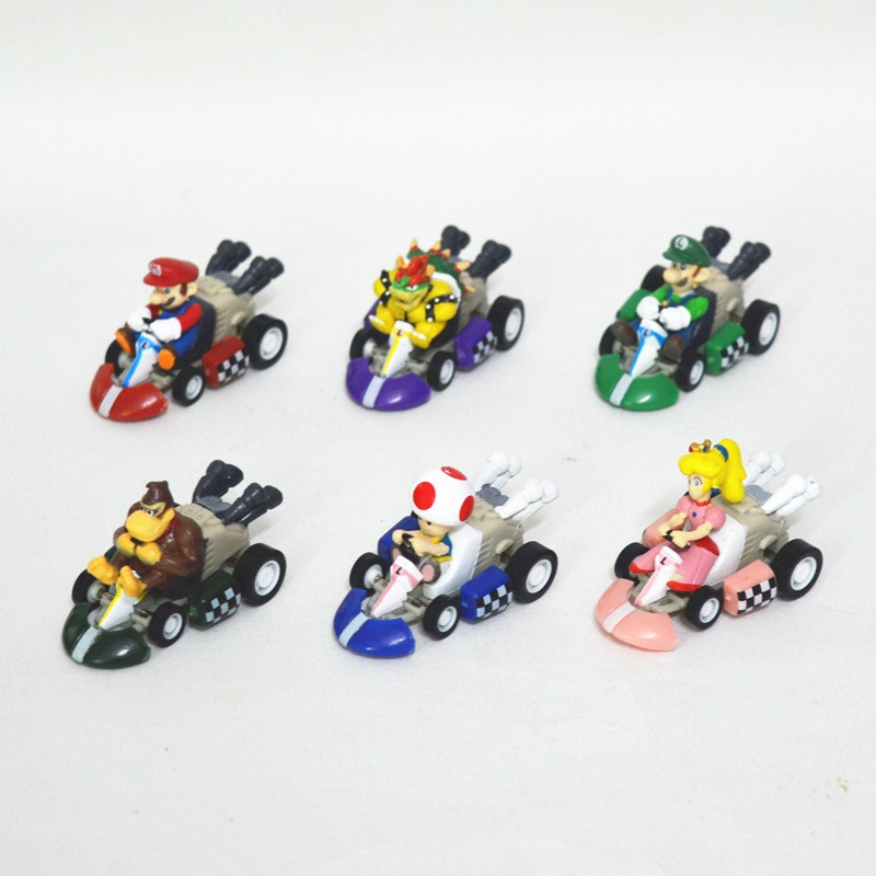 6 pçs/lote Super Mario Mini 3cm Kart Pull Back Carros Carros Bowser Koopa Luigi Toad Donkey Kong Princesa Peach Figura Brinquedos