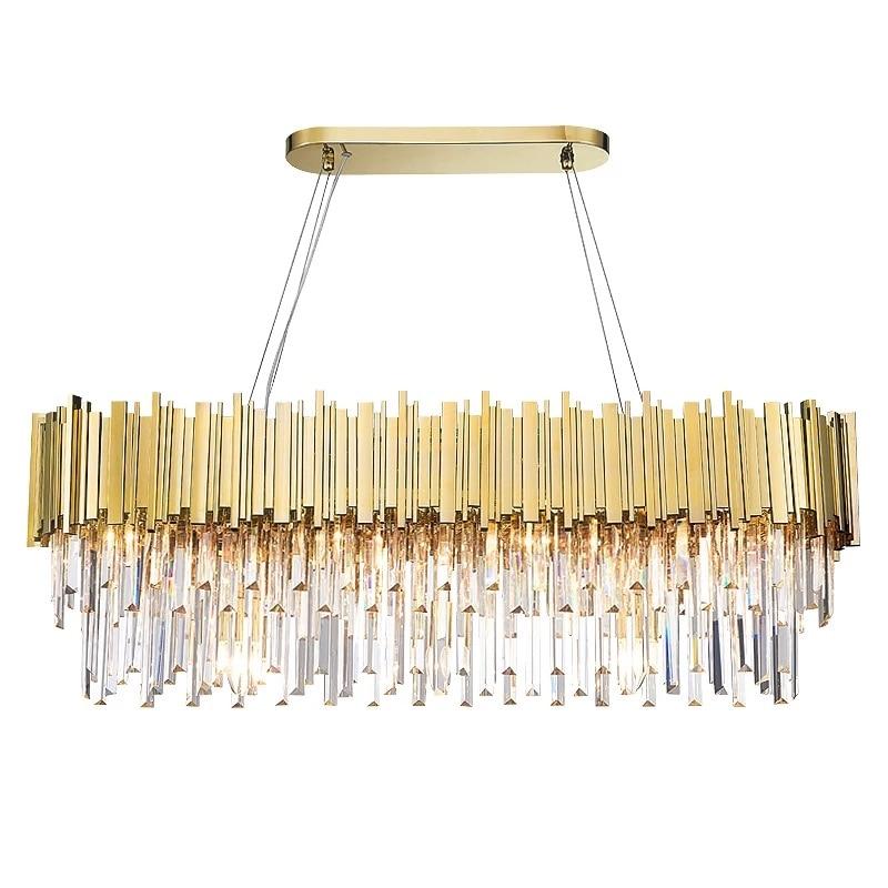 مصباح معلق LED دائري بيضاوي الشكل مصنوع من الفولاذ المقاوم للصدأ ، تصميم ما بعد الحداثة ، إضاءة داخلية مزخرفة ، مثالي لغرفة الطعام أو البهو.