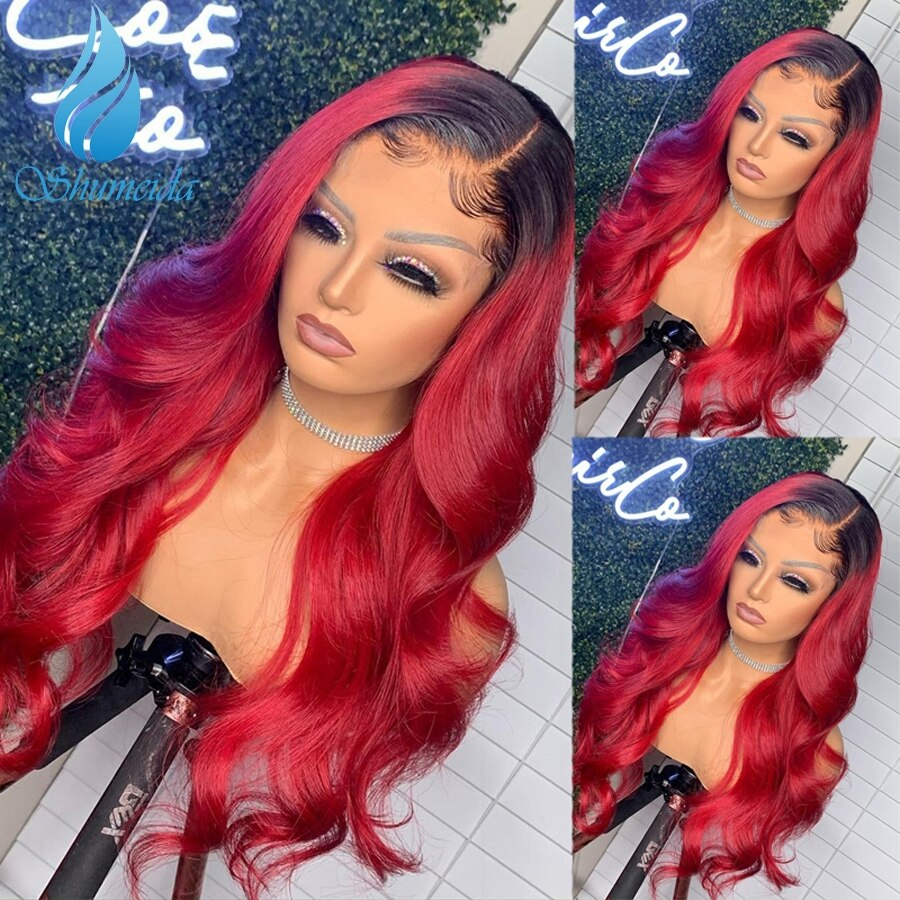 SMD Ombre Red 13*4 Lace Front Hair Wigs 150% Density Body Wave Brazilian Remy Human Hair Wigs With B