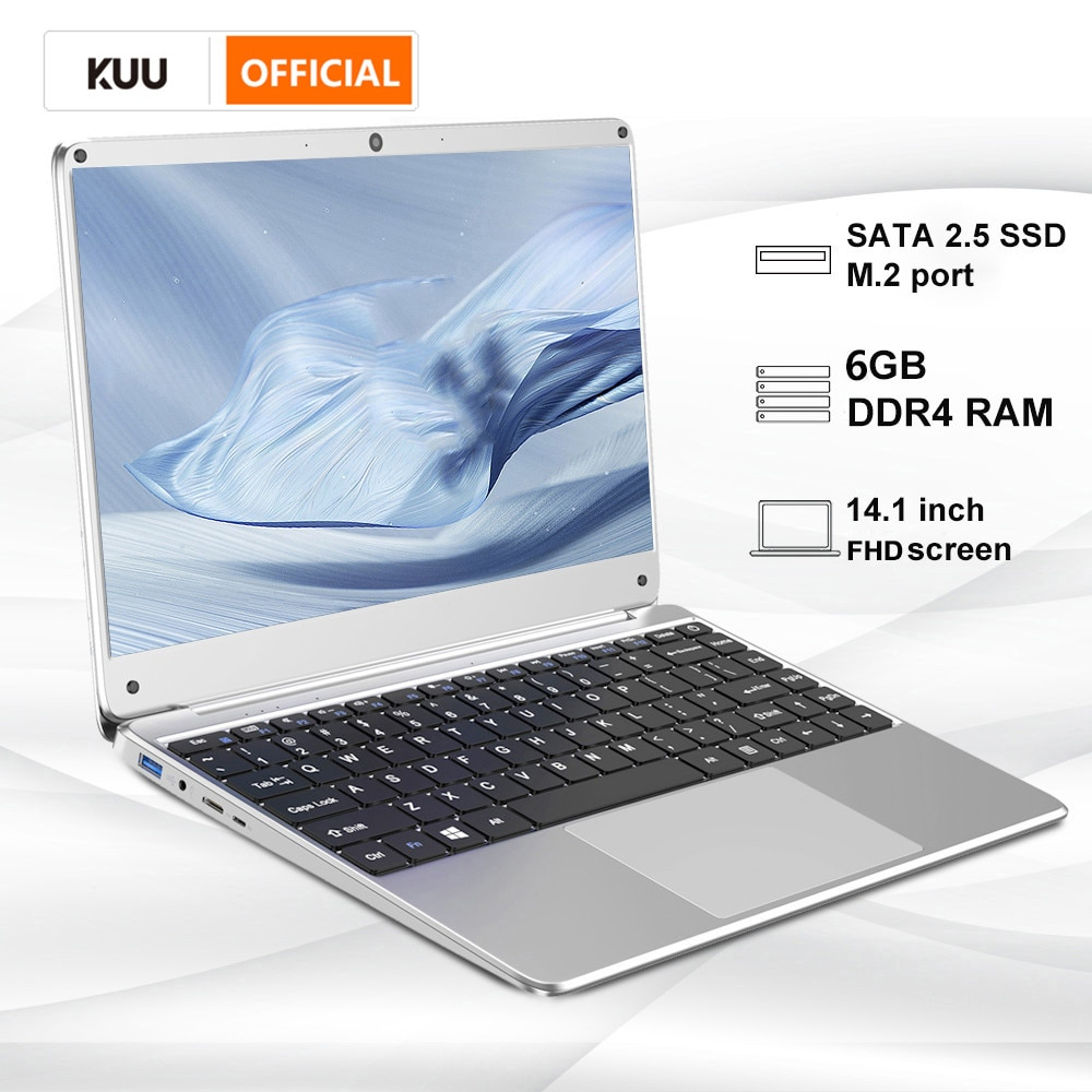 14.1 Inch Student Laptop 6G DDR4 RAM 128G 256G SSD Notebook Full Layout Keyboard WiFi Bluetooth for