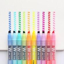 10 pièces/lot effaçable Double tête Art marqueurs 10 couleurs surligneur stylo pour dessin peinture Fluorecent école bureau papeterie