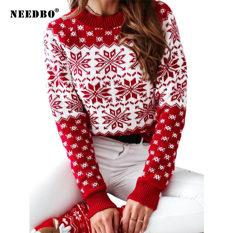 Рождественский свитер, Женский пуловер оверсайз, вязаный свитер с длинным рукавом, женский осенне-зимний топ со снежинками, женский свитер ...