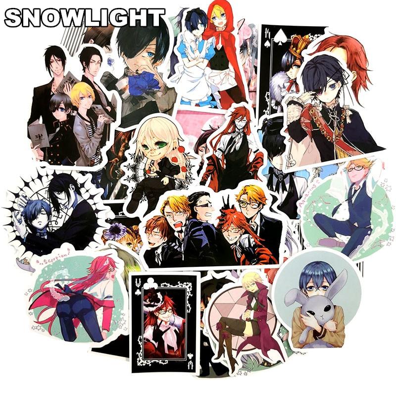 50 Uds Japón Anime Black Butler Sticker para maleta para guitarra nevera laptop poster pegatinas impermeable juguete pegatina para patineta