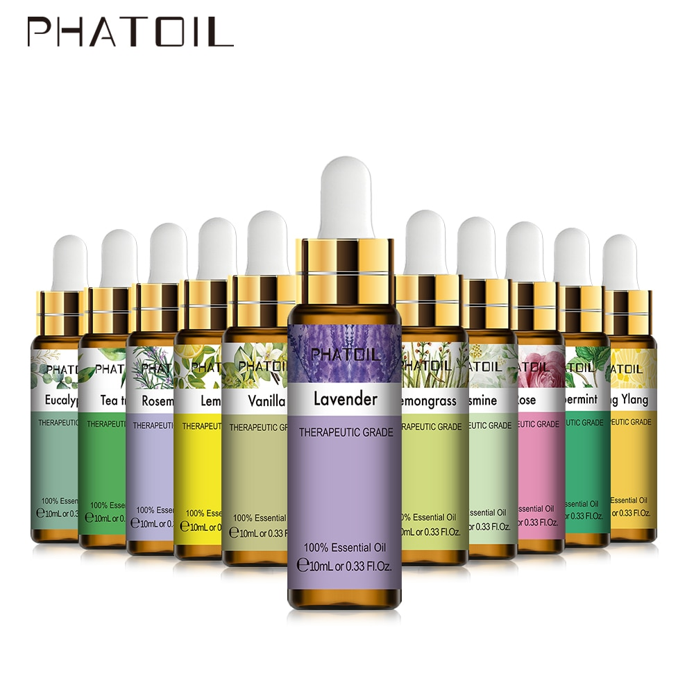 PHATOIL 10ML with Dropper Lavender Pure Natural Essential Oils Rose Eucalyptus Vanilla Mint Bergamot