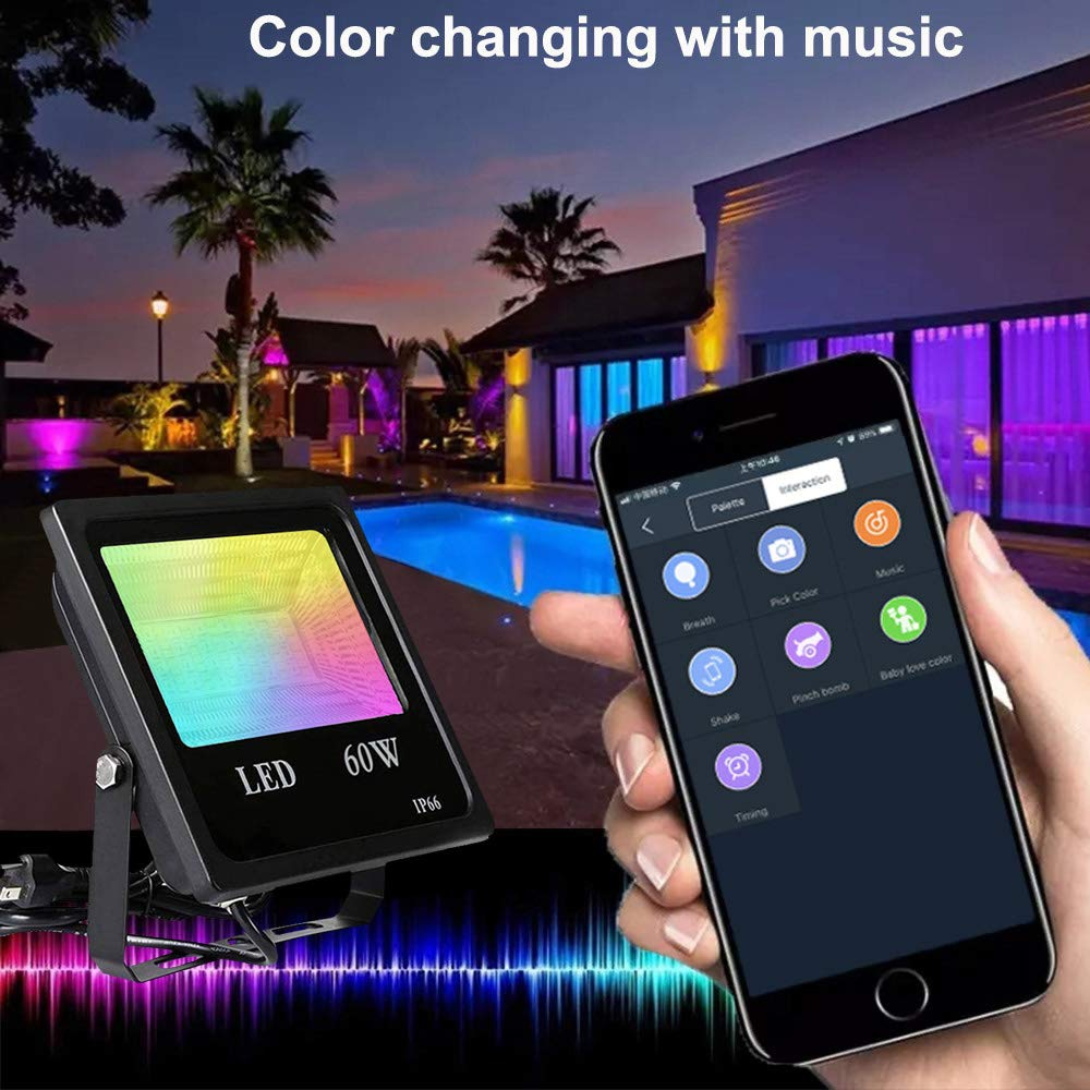 60w rgb luz de inundacao bluetooth 40 app controle led projectores 16 milhoes cores