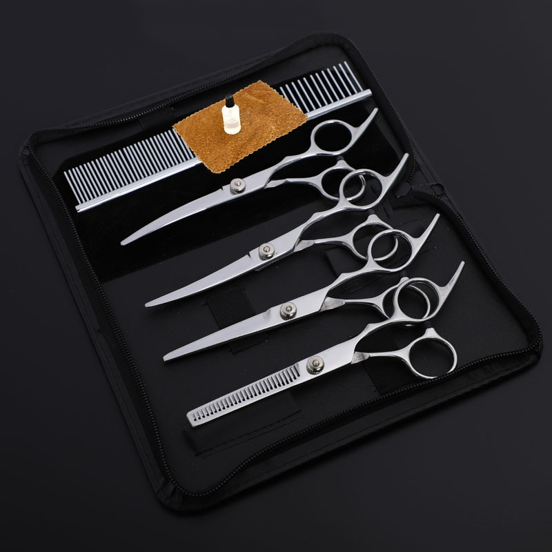 Stainless Steel Pet Grooming Scissors Cats and Dogs Hair Seam Scissors Up and Down Curved Scissors S