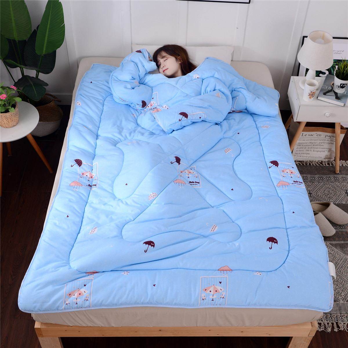 1,2 kg invierno edredones otoño colcha para perezosos con mangas cálido grueso manta edredón de lavado manta de siesta mantas 120cm x 160cm
