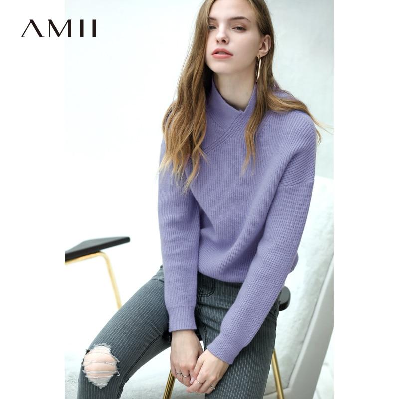 Amii suéter de punto minimalista de otoño para mujer, moda Lisa ajustada, suéter elegante para mujer, suéter 11820120