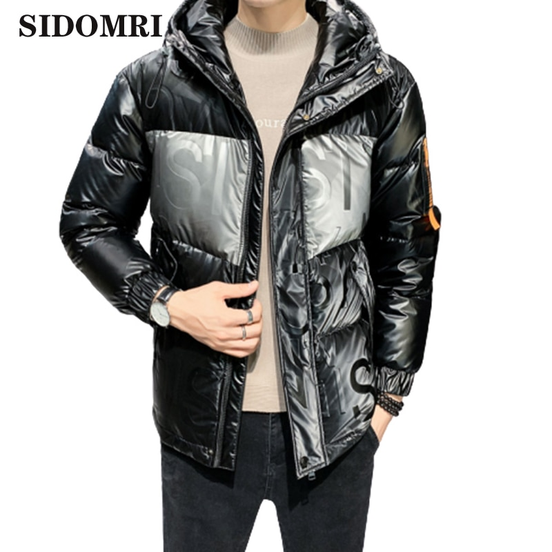 Winter new glossy down jacket for men keep warm waterproof fashion trend thicken down jacket for men 80% white duck down coat