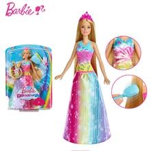 Original Barbie marque arc-en-ciel lumières sirène poupée caractéristique sirène poupée jouets fille un anniversaire jouets pour enfants cadeau