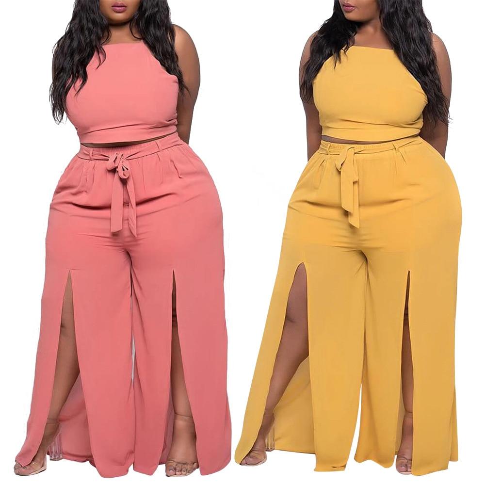 Комплекты ChocoMisty-LadyPlus больших размеров, однотонные брюки на бретельках с открытой спиной XQY1643