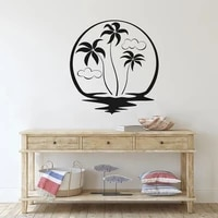 beach palm trees wall sticker vinyl home decoration for living room bedroom bathroom wall decals removable waterproof mural 4577